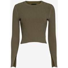 Exclusive for Intermix Ribbed Crewneck: Olive (£98) ❤ liked on Polyvore featuring tops, sweaters, long sleeve crop sweater, crewneck sweater, olive sweater, long sleeve crop top and layered sweater