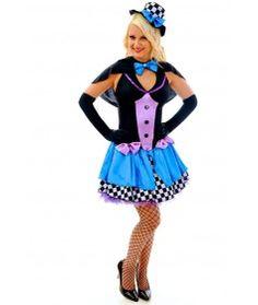 F85 Ladies Mad Hatter Fancy Dress Up Tea Party Alice In Wonderland Hens Costume  Mad Hatter