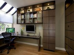 Check archive storage. space saving ideas and furniture placement for small home office design