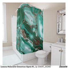 Luxury Malachite Gemstone Agate Marble Shower Curtain
