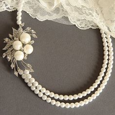 TSYIBA Vintage Style Bridal Necklace Pearl and by GlamorousBijoux, $85.00...LOVEE this!!!