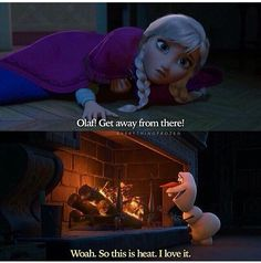 I love how even though her heart is about to freeze she still tries to save Olaf and warn him to stop so he doesn't melt