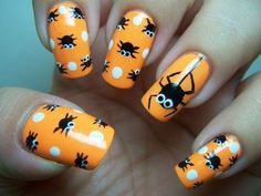 DIY halloween nails: DIY Halloween nail art : Polka Dot Spiders-Halloween Design Source by Get Nails, Fancy Nails, Love Nails, Pretty Nails, Nail Art Halloween, Holiday Nail Art, Halloween Nail Designs, Halloween Ideas, Halloween Spider