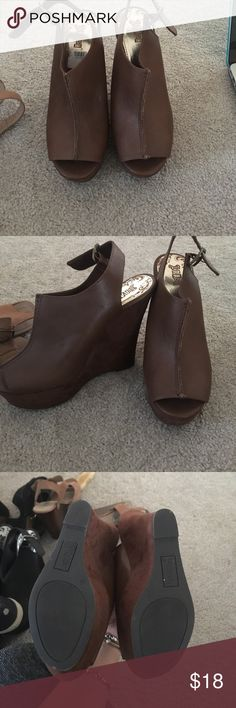 Brown wedges Brown wedges leather on top suede on bottom never been worn Shoes Wedges