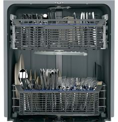Easy-access silverware baskets help make loading utensils and small items easy in our GE Hybrid Stainless Steel Dishwasher.