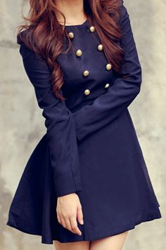 I need this dress because I want it. Navy Blue military style.
