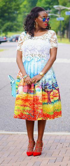 scenic print skirt