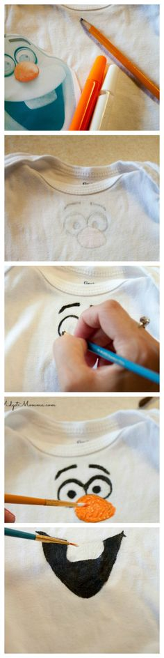 DIY Painted Olaf Shirt. If you are looking at going to Disney and want the kids to be decked out in Disney gear you can save a lot of money by making them yourself. You do not need to be be crafty to make them and you do not need any special machines to do them. This DIY Painted Olaf Shirt is easy to make and your Olaf fan will love it!