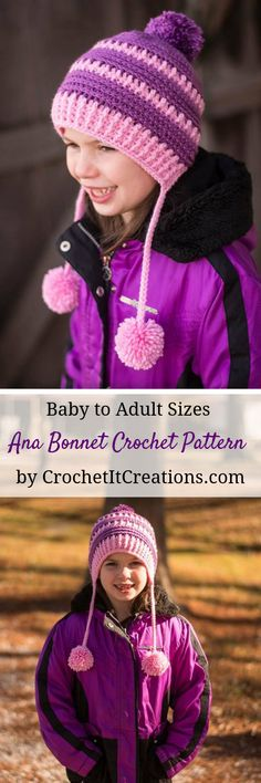 Make a beautiful crochet bonnet in 6 sizes; baby thru adult with this FREE pattern by Crochet It Creations! Keep the whole family warm with these fun, textured stitches. via @Crochet It Creations Crochet Kids Hats, Crochet Beanie Hat, Crochet Cap, Beanie Pattern, Crochet Cross, Scarf Hat, Crochet Gifts, Crochet Scarves, Beanie Hats
