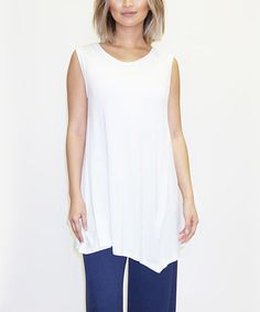 Look at this #zulilyfind! White Asymmetrical-Hem Tunic #zulilyfinds