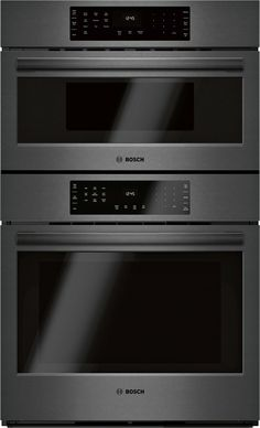 This 30 800 series speed combination oven by Bosch comes with cu. speed oven and cu. main oven capacity for your all-in-one cooking center. It also features genuine European convection lower oven. self cleaning c. Built In Microwave, Microwave Oven, Convection Cooking, Oven Cooking, Electric Wall Oven, Bosch Appliances, Oven Racks, Black Stainless Steel, Kitchen