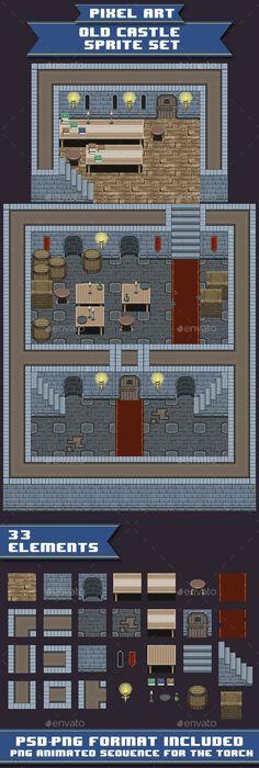 Pixel ArtOld Castle Sprite Set — Photoshop PSD #top down #Tile Set • Available here → https://graphicriver.net/item/pixel-artold-castle-sprite-set/12468353?ref=pxcr