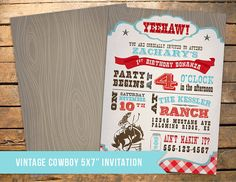 Cowboy Birthday Party Invitation Our 4 by 3LittleMonkeysStudio