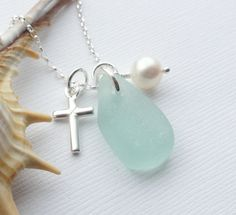Scottish Sea Glass and Sterling Silver Cross Necklace - FAITH £23.50