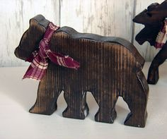 Rustic Wood Small Bear - Brown Wooden Cabin Bear