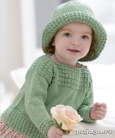 Детская кофточка и шляпа спицами