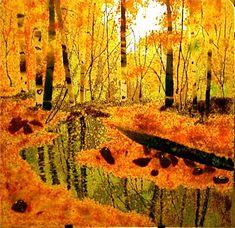 Aspen Maple Tree Oak Forest Autumn Fused Glass Panel
