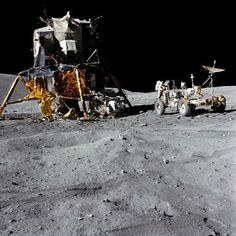 Poster Print. The Lunar Module and Lunar Roving Vehicle during an Apollo 16 moonwalk