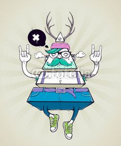 Vetor: Triangle hipster bizarre character