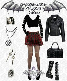 Rock Outfits, Gothic Outfits, Emo Outfits, Cute Outfits, Fashion Outfits, Gothic Rock, Alternative Outfits, Inspired Outfits, Look Chic