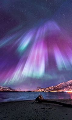 The beautiful things nature can do - admiring the Northern Lights in this picture. Click here to shop the new Matthew Williamson holiday collection.