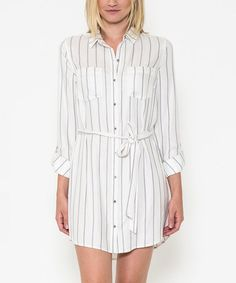White & Gray Stripe Shirt Dress - Women #zulily #zulilyfinds