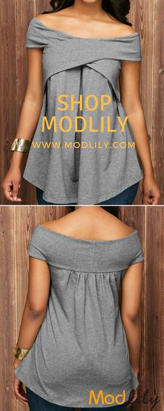 6e2c02a4 Off the Shoulder Grey Marl Pleated Blouse On Sale At Modlily. Fashion And  Simple!