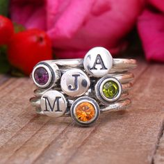 Mom Stackable Birthstone Initial Ring Stack Alphabet and Birth Months in Sterling Silver. Represent each child with an initial & stone