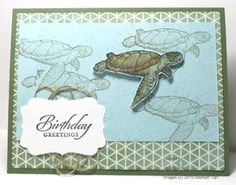 """Created with Stampin' Up! supplies: """"From Land to Sea"""" stamp set (w-138720,c-139361) """"Wetlands"""" stamp set (w-126695,c-126697) """"By the Tide"""" set (w-131910,c-129120) Decorative Label punch (120907) Color Me Irresistible Specialty DSP (138439) linen thread"""