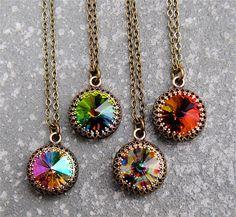 Rainbow Peacock Pastel Diamond Crown Necklace by MASHUGANA on Etsy, $24.50