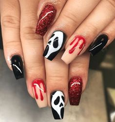 Scream Halloween Nail Art Spooky Halloween Nail Designs For Creepy Fingers Ongles Gel Halloween, Halloween Acrylic Nails, Best Acrylic Nails, Acrylic Nail Designs, Toe Nail Designs, Nails Design, Fall Nail Designs, Designs For Nails, Acrylic Nails With Design
