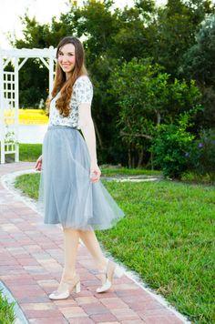 like the light blue tulle skirt