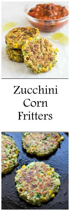 Zucchini Corn Fritters with Black Bean Salsa are a healthy and easy vegetarian option for dinner. They're dairy-free and can easily be made gluten-free! (healthy drinks for kids dairy free) Dairy Free Recipes, Veggie Recipes, Baby Food Recipes, Whole Food Recipes, Vegetarian Recipes, Healthy Recipes, Cheap Recipes, Dinner Recipes, Zucchini Muffins