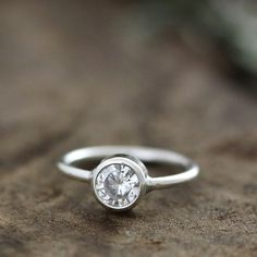 white sapphire engagement ring, 14k white or yellow gold, eco friendly, wedding ring, 5mm via Etsy