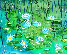 Watercolor Water Lilies - Fairychamber