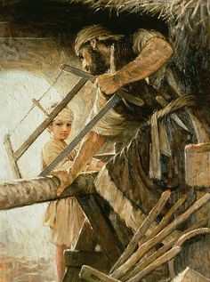 Jesus' father Joseph taught Jesus his trade. Jesus was known as the carpenter's son. Painting is by Walter Rane Pictures Of Christ, Religious Pictures, Bible Pictures, Lds Art, Bible Art, Bible Scriptures, Catholic Art, Religious Art, Roman Catholic