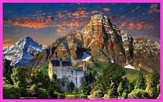 naturaleza castillo alemania paisaje arboles montaA 4 Sizes Home Decoration Canvas Poster Print