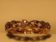 Vintage Rose Gold Wedding Band with Diamonds by My3LadiesJewelry, $299.99