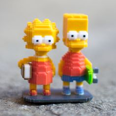 Bart & Lisa! #leblox #pixelart #3Dprinting #tribute #fanart #TheSimpsons #Simpsons