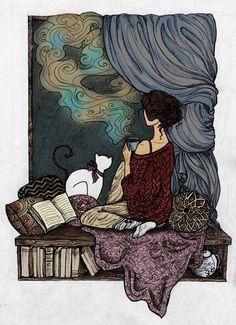Kitty, books and tea...