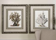 This artwork features double matting with an ivory linen outer mat and a nubby, medium, ivory linen inner mat. Wooden frames and fillets are silver leaf with brown and black wash and gray glaze. Prints are under glass.