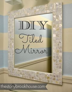 Ideas For Diy Bathroom Mirror Makeover Mosaic Tiles Mirror Mosaic, Mosaic Diy, Mirror Tiles, Mosaic Tiles, Tile Around Mirror, Bathroom Mirror Makeover, Bathroom Mirrors Diy, Bathroom Ideas, Tile Framed Mirrors