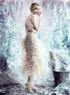 Alexander McQueen ostrich feather dress with chiffon-covered pearls. Fred  Leighton bag    vogue 2013    the great gatsby    Carey Mulligan e32907bd8919