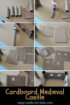 Recycle that old cardboard into some great Medieval crafts for kids. This cardboard medieval castle is so much fun to build and then use in imaginary play! Paper Crafts For Kids, Easy Crafts For Kids, Projects For Kids, Fun Crafts, Art Projects, Kids Castle, Toy Castle, Cardboard Crafts Kids, Castle Crafts