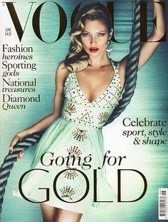 """Kate Moss e a capa de junho da VOGUE. """"Going for gold"""", e tudo o mais que remete aos jogos olímpicos!"""