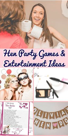 Hen party games and entertainment ideas to keep your guests giggling well into the early hours! Perfect ise-breakers for larger hen parties as well as some classy entertainment ideas for the quieter do! Hen party games for boozy brides and afternoon tea girls. Bachelorette games I hen party games I hen party ideas I Hen do inspiration