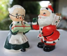 Vintage Santa and Mrs. Claus With Gifts Salt & Pepper Shakers Japan 1950s Napco Holt Howard Era Figurines Decorations by PurpleHousePicks on Etsy