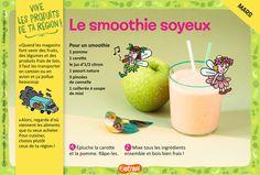 Le smoothie soyeux : une recette pour les enfants de 7 à 11 ans, avec une pomme, une carotte et un yaourt nature (extrait du magazine Astrapi n°856).