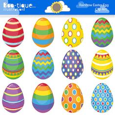 Easter Eggs Clipart. Easter Clip Art for Instant Download. Rainbow Easter Egg Clip Art. Bright Colours Easter Clipart. Spring Clipart. on Etsy, $4.95