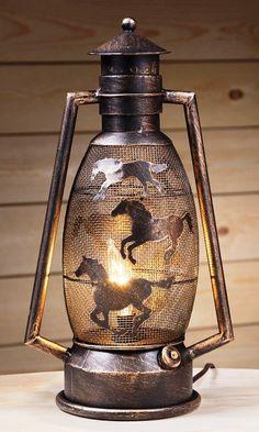 (JT-87-93762-250-12) Western Running Horses Metal Lantern Lamp